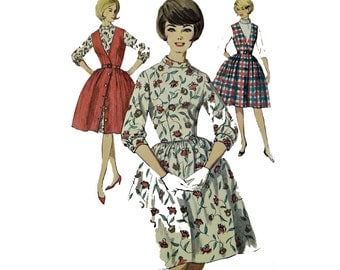 Vintage 60s Dress Pattern Full Skirt Dress JUMPER Pattern High Neckline 3/4 Sleeve Schoolgirl Jumper Dress Pattern Simplicity 5107 Bust 30.5