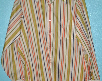"70s ""Kent Collection"" Stripy Hipster Men's Long Sleeve Shirt — Size 16 34 — Large"