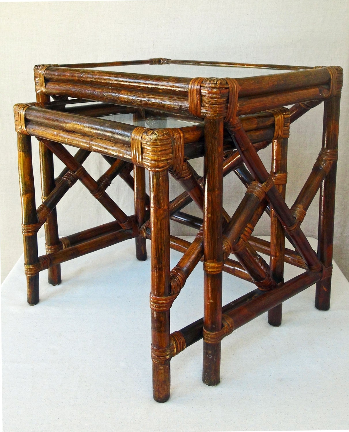 Rattan Nesting Tables ~ Vintage bamboo rattan and glass nesting tables end table