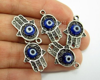 5 Pc Silver Hamsa Connector with Evil Eye, Turkish Jewelry