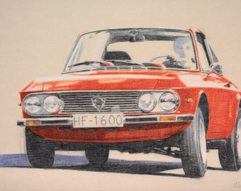 Drawing of a Lancia Fulvia 1600 HF.