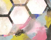 "Original Abstract Art Painting ""Geo 2"" by Kristina Kraemer - Hexagons, Geometric"
