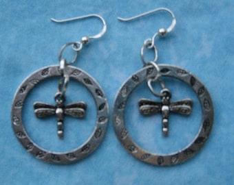 Silver Dragonfly Garden Earrrings