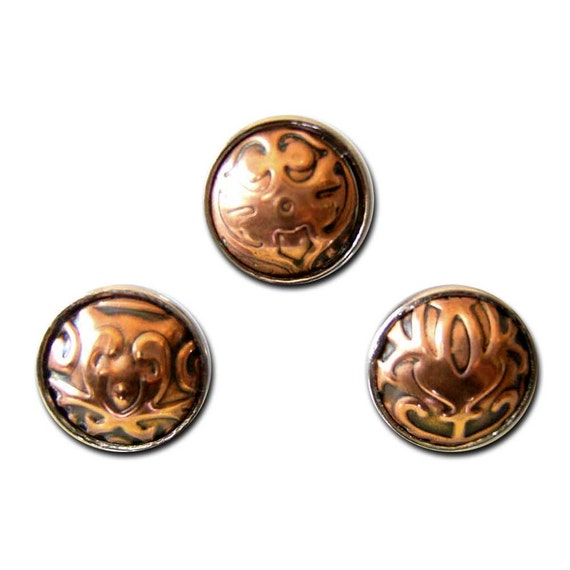 noosa style embossed copper popper chunk snap charm set
