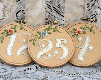 Custom Floral Table Number Embroidery Hoops - Table Number's  1- 15