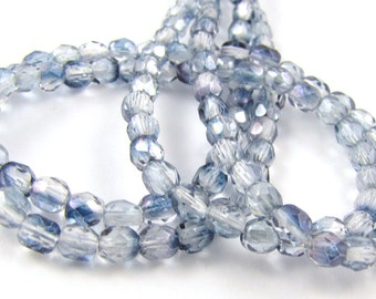 Blue Picasso Half 4mm Facet Round Czech Glass Fire Polished Beads 50pc #1142