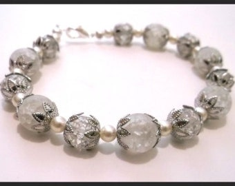 Moonlight - Beautiful Crackled Quartz Silver and Cultured Pearl  8 inch Bracelet.  Evocative of a frosty moonlit night.  One of a kind.