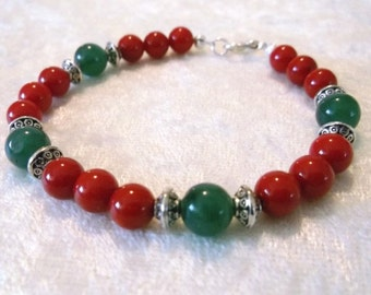 Christmas Holly - 7 inch Bracelet in Dyed Red Bamboo Coral, Dark Green Aventurine and Silver.  One of a Kind