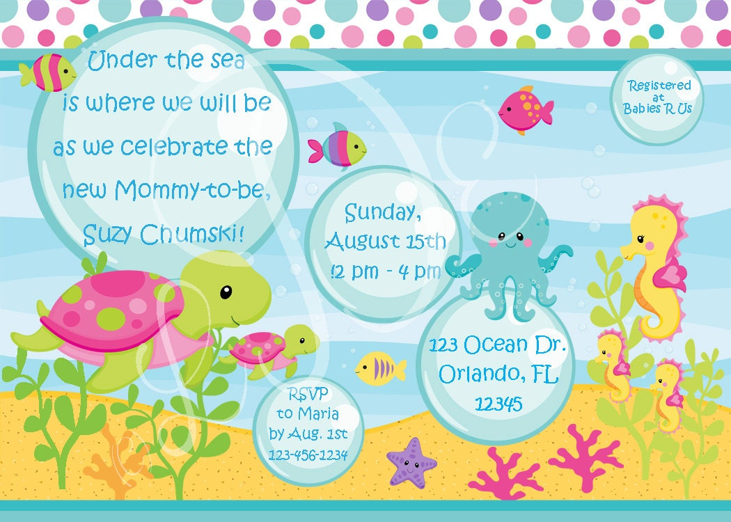 girls under the sea baby shower invitation by littledarlingexp