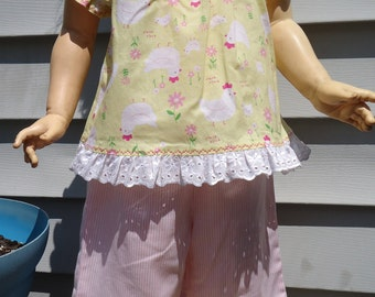 Peasant top and ruffle capris set girls 2T yellow chickens pink stripes