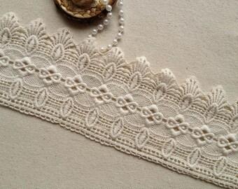 Antique Lace Trim Ecru Cotton Lace Trim Fabric Supplies Retro Scalloped Lace 3.62 Inches wide 2 yards
