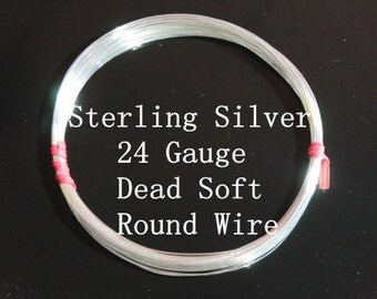 24 g ga Gauge Sterling Silver Wire - Round - Dead Soft - sold by 5 feet increments (RW2402SS)