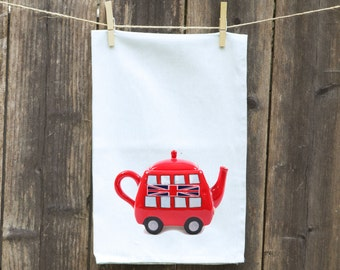 Flour Sack Towel-Tea-Dish-Hand-Kitchen-British Teapot