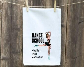 Flour Sack Towel-Tea-Dish-Hand-Kitchen-Dancing School with Ballet Dancer