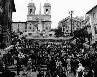 Rome Italy black and white fine art photo Spanish Steps matted print 5x7