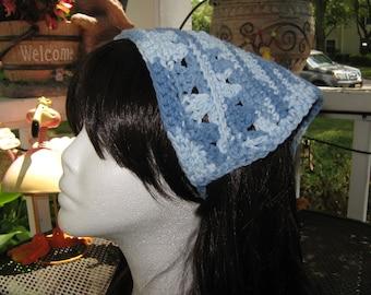 Crochet Kerchief Bandana blended blue colors