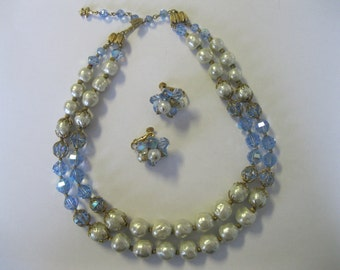 Vintage VENDOME Crystal and Baroque Pearl Necklace and Earrings