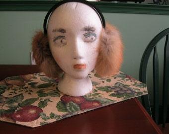 Genuine Red Fox Ear Muffs with Velvet Headband