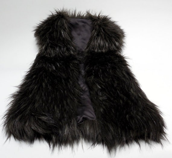 Chic  Faux Fur Vest, 100% Silk , size 4 -New Price!