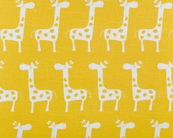 Ships Same Day Premier Prints Stretch Corn Yellow - Yellow and white Giraffe Gisella Fabric - By the 1/2 Yard