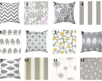 SALE - Premier Prints Storm Grey and White Decorative Double Sided Gray Pillow Cover - 12 styles to choose from - FREE SHIPPING