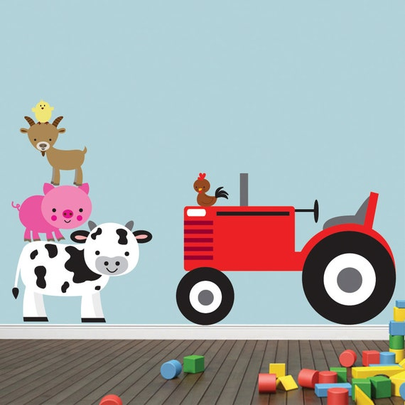Kids Room Wall Decals Farm Wall Decals Farm Animal Decals: FARM Animals Tractor Wall Decal REUSABLE Decal