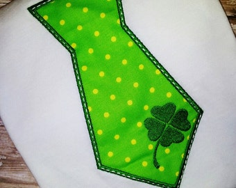 Green and white Polka Dot Tie with Clover Shirt