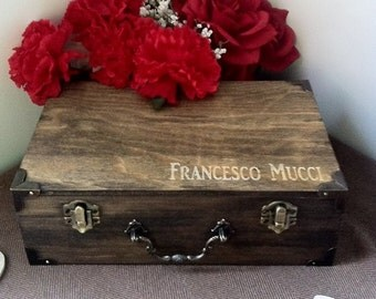 Groomsmen Wooden Gift Boxes - Personalized & Stained - Engraved Top - Rustic Look - Eco Friendly Stain With NO SMELL