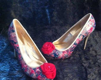 Retro Vintage Floral Spring Decoupage Wedding Heels Shoes size 6 uk