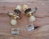 Vintage 60s Mid Century Weiser Acrylic Lucite White Golden Flake Door Knobs Self-Lock - Free Shipping