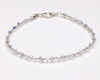 Swarovski Crystal Clear Ab and Clear Ab Seedbead Bracelet