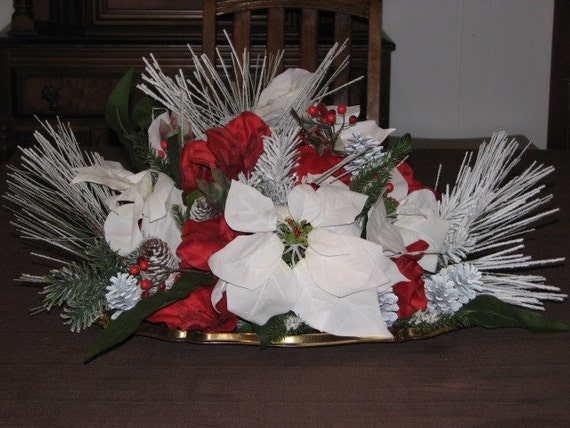 Large christmas centerpiece snow covered pine red berries
