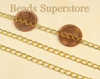 SALE 6 mm x 3.5 mm Gold-Plated Long Curb Chain - Nickel Free and Lead Free - 3 meters (about 10 feet)