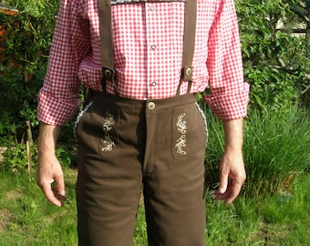 Oktoberfest Embroidered cotton brown Lederhosen ver 1