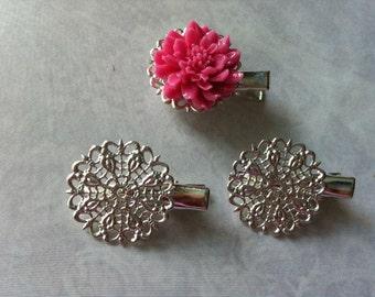10 pcs Filigree Bobby Pin Blanks,,,Silver Flower Hair Pins ,iron Hair Clip , perfect for resin cabochon.