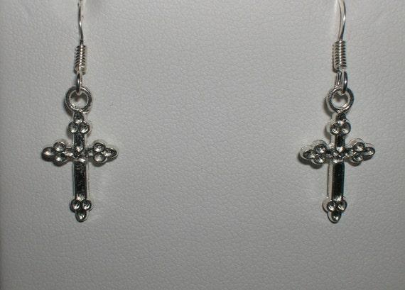 small silver cross dangle earrings by macyleejewelry on etsy