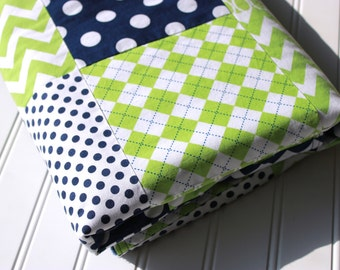 Baby Boy Patchwork Quilt - Ready to Ship - Baby Quilt, Baby Blanket, Minky Baby Patchwork, Navy & Lime, Dots, Chevrons, Argyle, Baby Nursery