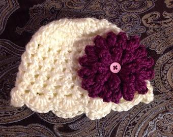 Adorable Newborn Cream crochet hat w/ fuscia flower, Made to Order, Baby Girl  Hat with Flower,  Photo Prop Beanie