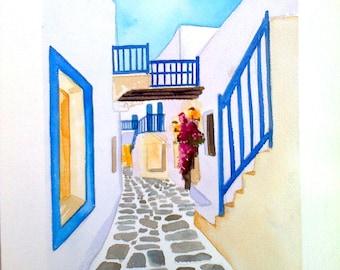 "Orignal Watercolor  8""x12"",Greek Art,blue,Watercolor Artwork,Unique work of art, GREEK PAINTING greek  island painting,made in greece"