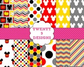 Mickey Inspired Digital Paper Pack - INSTANT DOWNLOAD