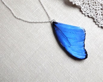 Blue butterfly wing necklace, Winter jewelry, Butterfly wing necklace, Butterfly wing, Butterfly jewelry, Christmas gift