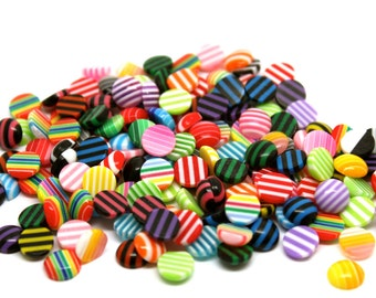 100 pc Resin Cabochons, Round, Mixed Color, 8x3.5mm. Ships from Los Angeles, CA Immediately.