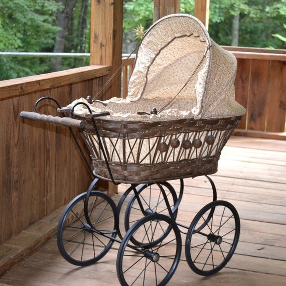 Vintage Doll Carriage Wicker Metal Plastic With Calico