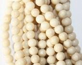 "Natural Fossil Beads  - Round 4 mm beads, Semi Precious Gemstone Beads - Full Strand 15"", 89 beads"