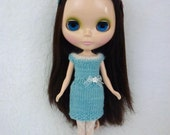 Hand-Knit Blue and White Dress for Blythe Doll