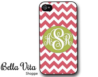iPhone 4 Case -  Pink Chevron with Green Monogram iPhone 4s Case, Cute iPhone 4 Protective Case, Rubber iPhone 4 Cases I4C