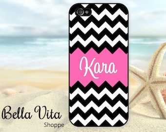 Monogrammed iPhone 5 Case, Black Hot Pink Name, iPhone 5S Case I5S