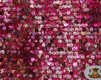 """Sequin Micro Dye Paillete FUCHSIA Fabric / 54"""" Wide / Sold by the yard"""