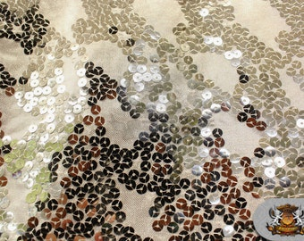 "Sequin Semi Fish Scale Stretch Fabric SILVER / 60"" Wide / Sold by the yard"
