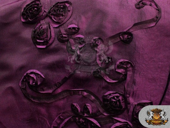 Taffeta ribbon rosette fabric plum 58 quot wide sold by the yard
